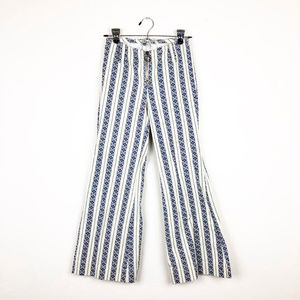 ecote White and Blue Bell Bottom High Waist Pants